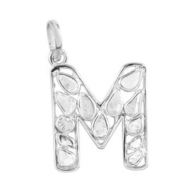 Artisan Crafted Polki Diamond Initial M Pendant in Platinum Overlay Sterling Silver 0.50 Ct.