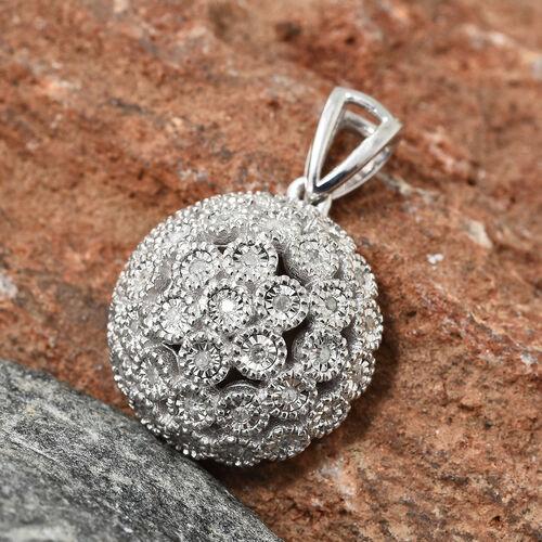 Diamond (Rnd) Pendant in Platinum Overlay Sterling Silver 0.250 Ct.