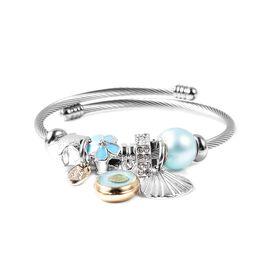 Simulated Blue Topaz (Rnd), White Austrian Crystal Charm Bracelet (Size 6-7) in Silver Tone