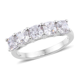 J Francis Made with Swarovski Zirconia 5 Stone Ring in Platinum Plated Sterling Silver