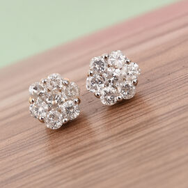 WEBEX 9K Yellow Gold SGL Certified Natural Diamond (I3/G-H) Floral Stud Earrings (with Push Back) 1.