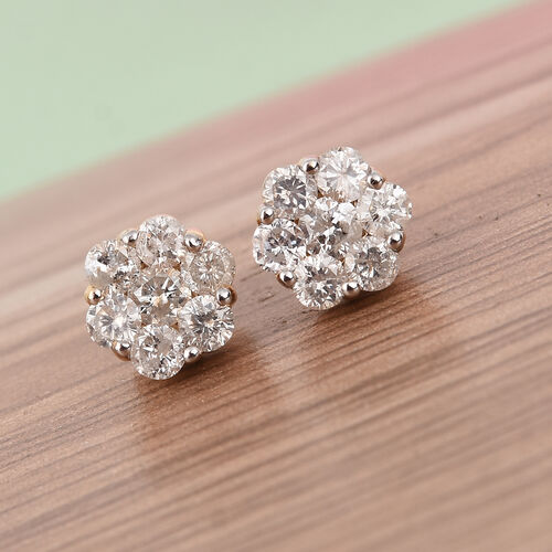 9K Yellow Gold SGL Certified Natural Diamond (I3/G-H) Floral Stud Earrings (with Push Back) 1.00 Ct.