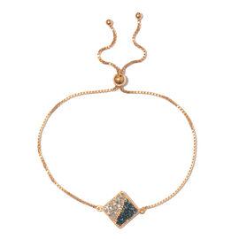 Blue and White Diamond (Bgt) Bracelet (Size 6.5 - 9.5 Adjustable) in 14K Gold and Platinum Overlay w