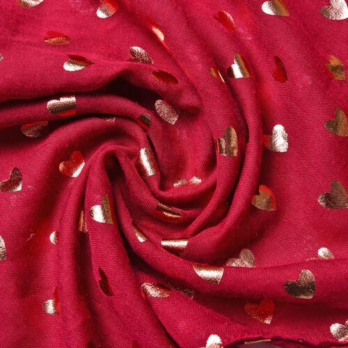 Golden Hearts Pattern Burgundy Colour Scarf with Fringes (Size 180X70 Cm)
