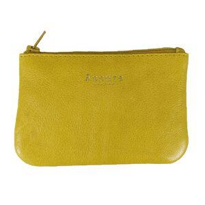 Assots London Poppy Yellow Full Grain Leather Zip Top Coin Purse (Navigation Fashion Accessories Handbags) photo