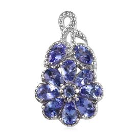 2.25 Ct Tanzanite Cluster Floral Pendant in Platinum Plated Sterling Silver