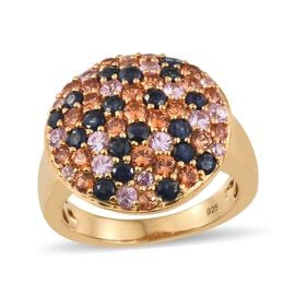 3.25 Ct Rainbow Sapphire Cluster Ring (Size M) in Gold Plated Silver 6.73 grams