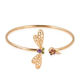 Limited Edition-Amethyst, Mozambique Garnet,Citrine, Russian Diopside and Natural White Cambodian Zircon Dragonfly Bangle (Size 7.5) in Yellow Gold Overlay Sterling Silver.