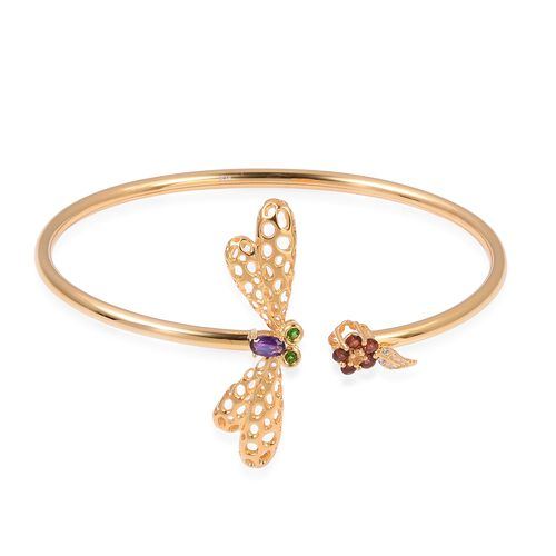Limited Edition-Amethyst, Mozambique Garnet,Citrine, Russian Diopside and Natural White Cambodian Zircon Dragonfly Bangle (Size 7) in Yellow Gold Overlay Sterling Silver