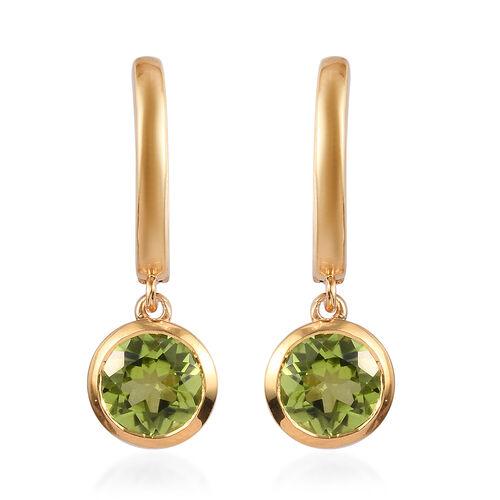 2.75 Ct Hebei Peridot Drop Earrings in Gold Plated Sterling Silver