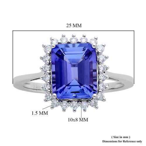 RHAPSODY 950 Platinum AAAA Tanzanite (Oct 10x8mm), Diamond (VS/E-F) Ring 3.77 Ct, Platinum wt 4.80 Gms