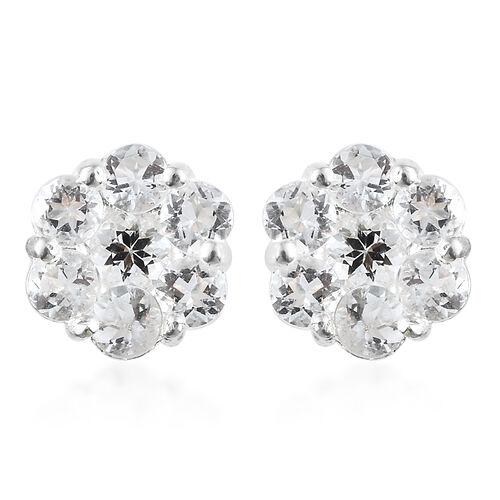 Super Auction- Petalite (Rnd) Pressure Set Floral Earrings in Sterling Silver 1.50 Ct.