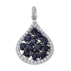 Kanchanaburi Blue Sapphire and Natural Cambodian Zircon Pendant in Rhodium Overlay Sterling Silver 3