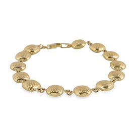 Diamond Cut Cuscino Bracelet in 9K Yellow Gold 4.85 Grams 7.25 Inch