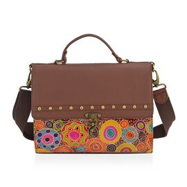 SUKRITI 100% Genuine Leather Abstract Floral Indie Pattern Satchel Bag with Detachable Strap (Size 2