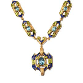 Electric Blue Topaz Enamelled Necklace (Size 18) in 14K Gold Over Sterling Silver 6.00 Ct, Silver wt