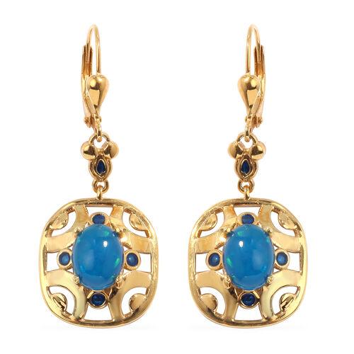 Blue Ethiopian Opal Enamelled Lever Back Earrings in 14K Gold Overlay Sterling Silver 2.25 Ct, Silve