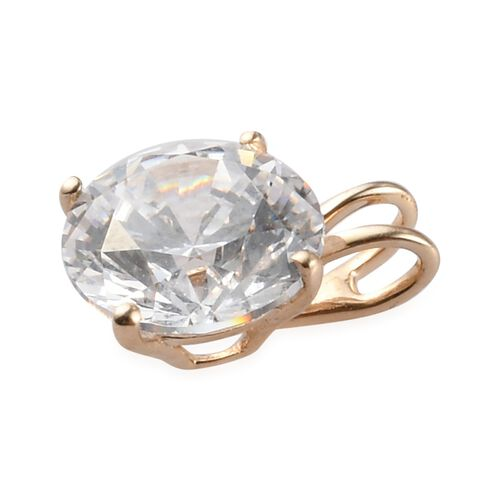 J Francis 9K Yellow Gold Solitaire Pendant Made with SWAROVSKI ZIRCONIA 2.04 Ct.