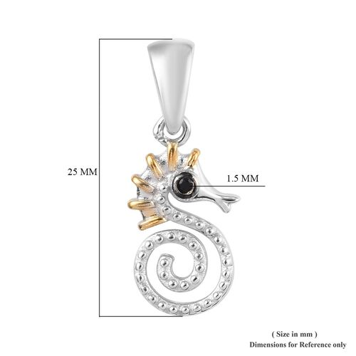 Boi Ploi Black Spinel Seahorse Pendant in Platinum and Yellow Gold Overlay Sterling Silver