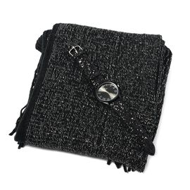 2 Piece Set- Black Colour Scarf with Silver Threads (Size 170x20 Cm) and STRADA Japanese Movement Water Resistant Watch with Black Colour Sequin Strap