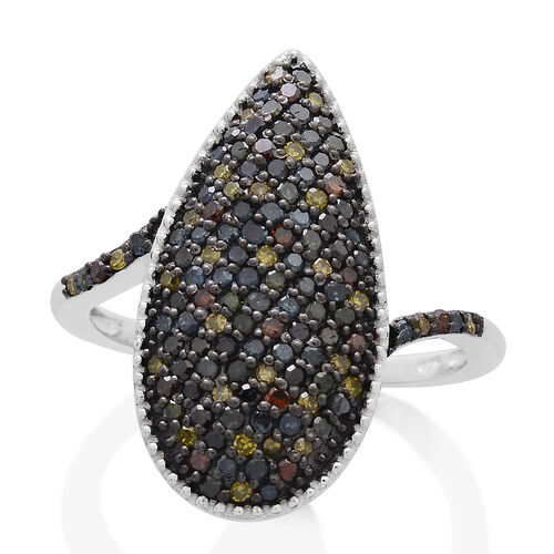 Designer Inspired Multi Colour Diamond (Rnd) Ring in Platinum and Black Rhodium Overlay Sterling Silver 1.000 Ct.