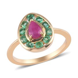 9K Yellow Gold AA Burmese Ruby and AA Kagem Zambian Emerald Ring 1.10 Ct.