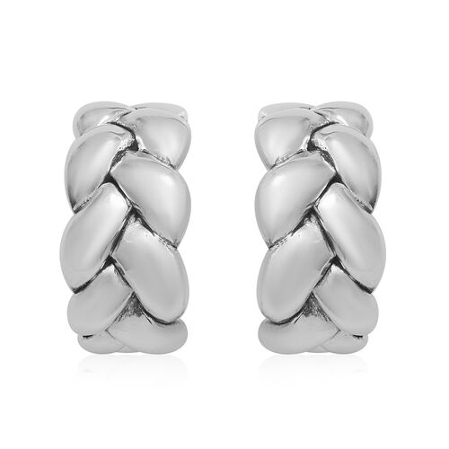 Thai Sterling Silver Braided-Design Earrings (with Push Back), Silver wt. 5.70 Gms