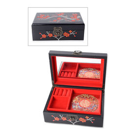 2 - Layer Plum Blossom Pattern Jewellery Box with Inside Mirror and Removable Tray (Size 21x14x7.5 C