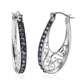 2 Carat Tanzanite Filigree Hoop Earrings in Platinum Plated Sterling Silver 7 Grams