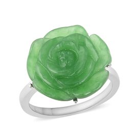 12 Carat Carved Green Jade Rose Floral Ring in Rhodium Plated Sterling Silver