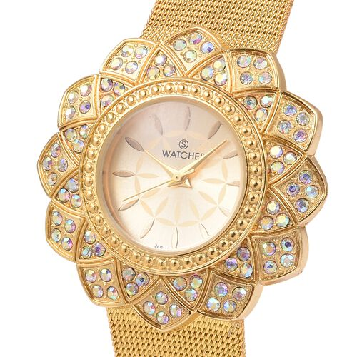 STRADA Japanese Movement Magic Colour Crystal Studded Water Resistant Watch with Golden Strap
