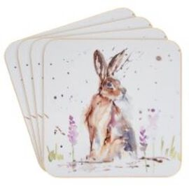 Set of 4 - Country Life Hare Coasters (Size 10.5x10.5cm)