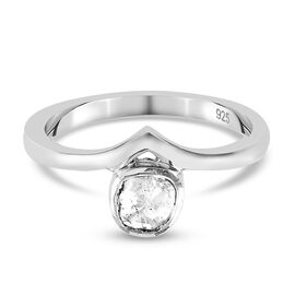 Artisan Crafted Polki Diamond Ring in Platinum Overlay Sterling Silver 0.10 Ct.