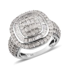 9K White Gold SGL Certified Diamond (I3-GH) Diamond Cluster Ring 2.00 Ct.