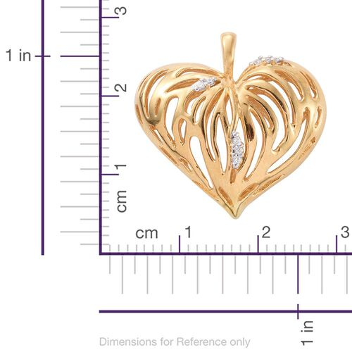 Designer Inspired-J Francis - 14K Gold Overlay Sterling Silver (Rnd) Heart Pendant Made with SWAROVSKI ZIRCONIA