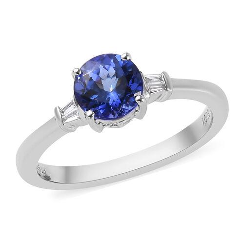 RHAPSODY 1.05 Ct AAAA Tanzanite and Diamond Solitaire Ring in 950 Platinum 4 Grams VS EF