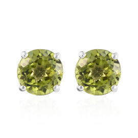 Hebei Peridot (Rnd) Stud Earrings (with Push Back) in Platinum Overlay Sterling Silver 3.00 Ct.
