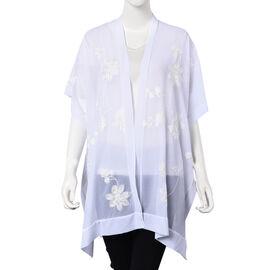 Flower Embroidery Pattern Kimono (Size 95x80 Cm) - White