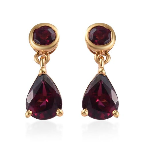 Rhodolite Garnet (Pear and Rnd) Earrings (with Push Back) in 14K Gold Overlay Sterling Silver 3.00 C