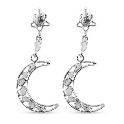 Artisan Crafted Polki Dimaond Moon Drop Earrings (with Push Back) in Platinum Overlay Sterling Silver 0.50 Ct.