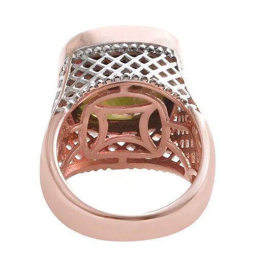 Finch Quartz (Cush 14x14 mm) Ring in Rose Gold and Platinum Overlay Sterling Silver 12.250 Ct, Silver wt 7.14 Gms.