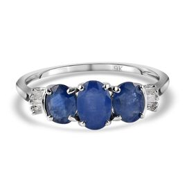 9K White Gold Natural Burmese Blue Sapphire and Diamond Ring 1.53 Ct.