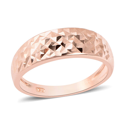 Diamond Cut Ring in Rose Gold Plated Sterling Silver