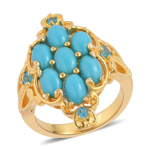Arizona Sleeping Beauty Turquoise (Ovl), Malgache Neon Apatite Ring in Yellow Gold Overlay Sterling Silver 2.250 Ct. Silver wt 5.98 Gms.