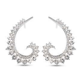 Austrian White Crystal Climber Earrings (with Push Back) in Silver Tone