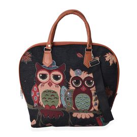 Black and Multi Colour Owl Pattern Tote Bag with Detachable Shoulder Strap and Zipper Closure (Size