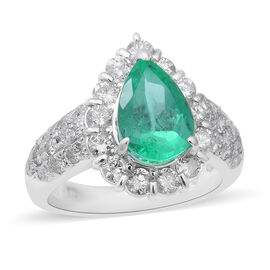 Signature Collection - 900 Platinum AAAA Boyaca Colombian Emerald (Pear 10x7mm), Diamond (I1-I2/G-H)