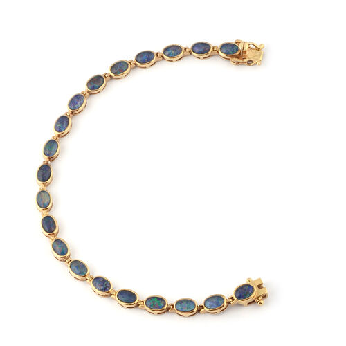 Boulder Opal Bracelet (Size 7.5) in Yellow Gold Overlay Sterling Silver, Silver wt. 8.40 Gms
