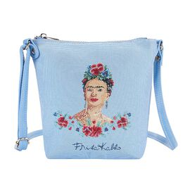 Signare Tapestry Frida Kahlo Panel Design in Beige on Blue Sling Bag (16x22x120cm)