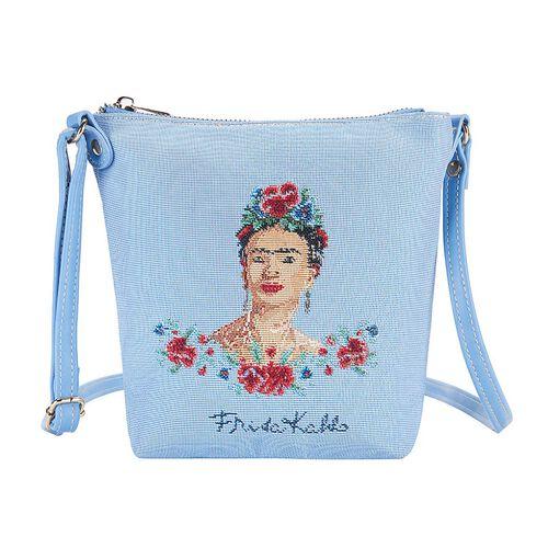 Signare Tapestry Frida Kahlo Panel Design in Beige on Blue Sling Bag (16x22x120cm)